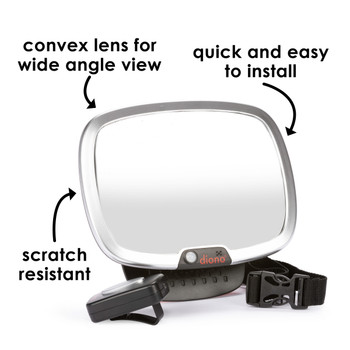 Diono Easy View® Plus Baby Car Mirror - Features: Convex Lens for Wide View Angle, Quick and Easy to Install, Scratch Resistant [Silver]