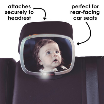 Diono Easy View® Plus Baby Car Mirror - Attaches securely to headrest. Perfect for rear-facing car seats [Silver]