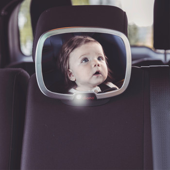 Diono Easy View® Plus Baby Car Mirror attached to car headrest [Silver]