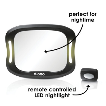 Diono Easy View® XXL Baby Car Mirror - Perfect for night time, remote controlled LED light [Black]