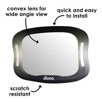 Diono Easy View® XXL Baby Car Mirror - Features:  Convex Lens for Wider View, Quick and Easy to Install, Scratch Resistant [Black]