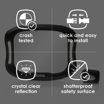 Diono Easy View® XXL Baby Car Mirror - Features:  Crash Tested, Quick and Easy to Install, Crystal Clear Reflection, Shatterproof Safety Surface [Black]