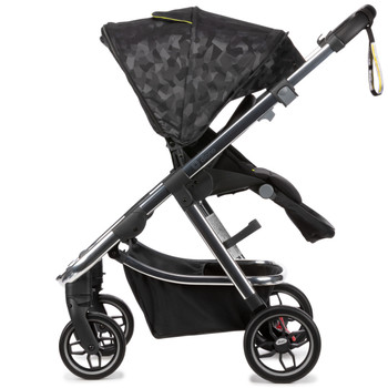Diono Excurze Luxe Baby, Infant, Toddler Stroller  has a  fold 'n flip seat can be switched between world and parent-facing in seconds, and features multiple recline positions for complete baby comfort [Black Platinum]