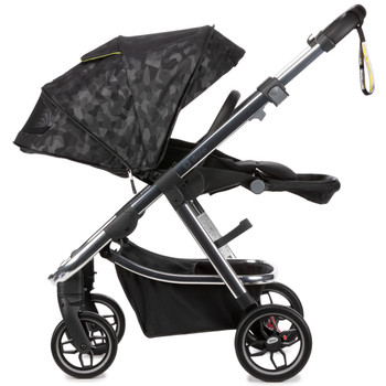 Diono Excurze Luxe Baby, Infant, Toddler Stroller has an expandable seat unit designed to be small on the outside and big on the inside with a 3-position adjustable hood height, and a seat that will expand with your growing child [Black Camo]