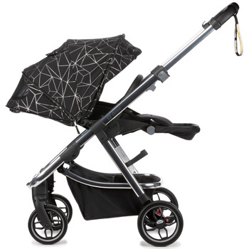Diono Excurze Luxe Baby, Infant, Toddler Stroller is designed with a secure tether strap and all-round suspension for easy, one-handed steering and ultimate maneuverability through busy sidewalks [Black Platinum]