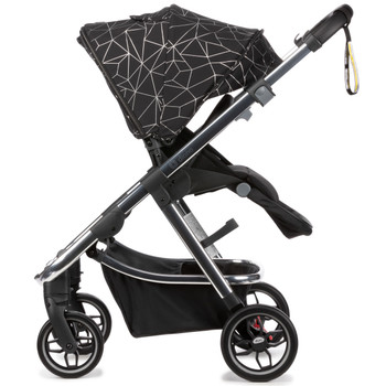 Diono Excurze Luxe Baby, Infant, Toddler Stroller  has a  fold 'n flip seat can be switched between world and parent-facing in seconds, and features multiple recline positions for complete baby comfort [Black Camo]