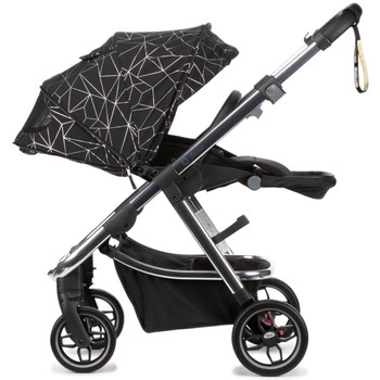 Diono Excurze Luxe Baby, Infant, Toddler Stroller has an expandable seat unit designed to be small on the outside and big on the inside with a 3-position adjustable hood height, and a seat that will expand with your growing child [Black Platinum]