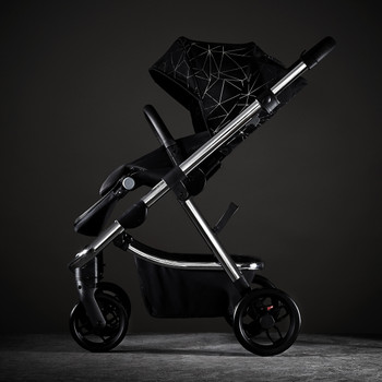 Diono Excurze Luxe Baby, Infant, Toddler Stroller, Perfect City Travel System Stroller and Car Seat Compatible, Adaptors Included Compact Fold, Narrow Ride, XL Storage Basket [Black Platinum]