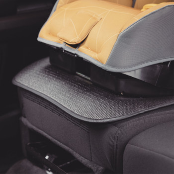 Diono Grip It Car Seat Protector - close up of Grip It installed [Black]