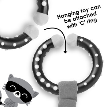 Hanging toy can be easily attached to stroller with C ring  [Raccoon]