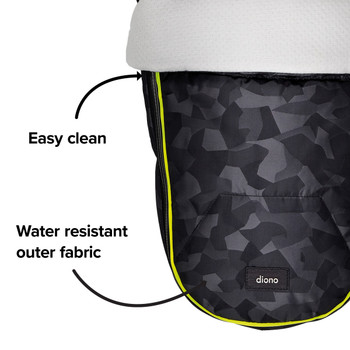 Easy clean, water resistant outer fabric  [Black Camo]