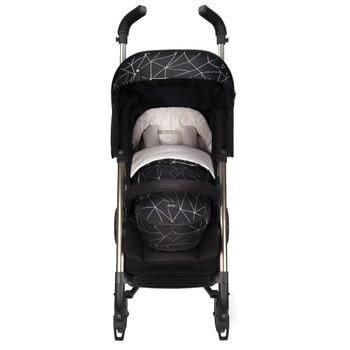 Newborn Pod, Luxury Stroller Footmuff For Baby shown on stroller [Black Platinum]
