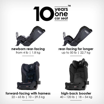 10 years one car seat from birth to booster [Black Jet]