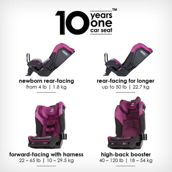 10 years one car seat from birth to booster [Purple Plum]