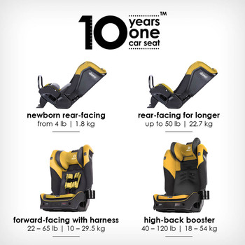 10 years one car seat from birth to booster [Yellow Mineral]