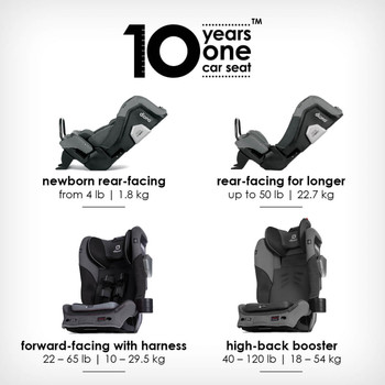 10 years one car seat from birth to booster [Gray Slate]