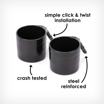 Additional cup holders simple click and twist installation, crash tested, steel reinforced