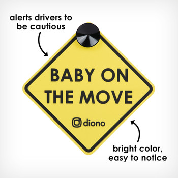 Baby on the move sign alerts drivers to be cautious