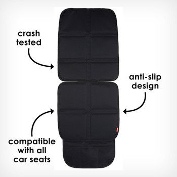 Back seat protector crash tested, anti slip and compatible with all car seats