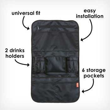 Back seat organizer universal fit, easy installation, 2 drinks holders, 6 storage pckets