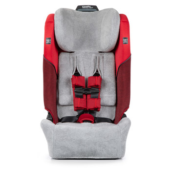 Diono Car Seat Summer Cover - Front on image of car seat with cover and seat belt wraps [Gray]