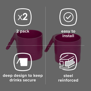 Diono Car Seat Cup Holders - Features: 2 Pack, Easy to Install, Deep design to keep drinks secure, Steel reinforced [Purple Plum]