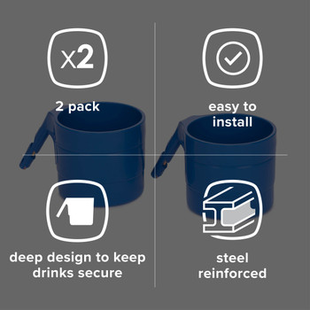 Diono Car Seat Cup Holders - Features: 2 Pack, Easy to Install, Deep design to keep drinks secure, Steel reinforced [Blue Sky]