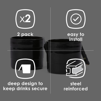 Diono Car Seat Cup Holders - Features: 2 Pack, Easy to Install, Deep design to keep drinks secure, Steel reinforced [Black]