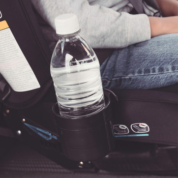 Diono Car Seat Cup Holders in use with with bottle [Black]