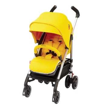 Reversible Stroller Seat Liner With Plush Cushioned Padding shown on stroller [Yellow Sulphur]