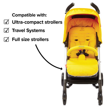 Compatible with all sized strollers from full size travel systems to ultra compact  [Yellow Sulphur]