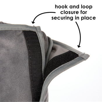 Diono Seat Belt Pillow with a hook and loop closure for securing in place [Gray]