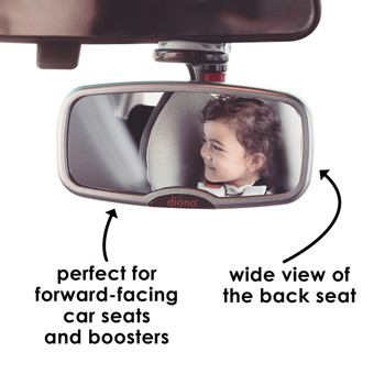Diono See Me Too Mirror - Perfect for forward facing car seats, wide view of back seat  [Silver]