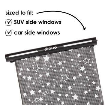 Diono Starry Night Car Window Shade is sized to fit SUV car windows and car side windows [Black]