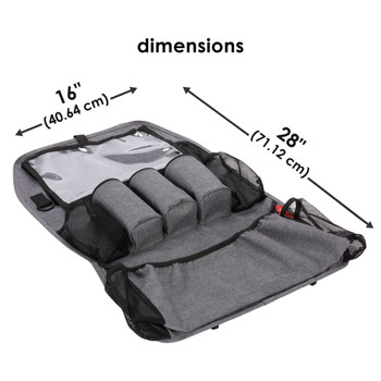 Diono Stow 'n Go XL Car Back Seat Organiser for Kids, Kick Mat Back Seat Protector, With 7 Storage Pockets, 2 Drinks Holders, Water Resistant, Durable Material [Gray]