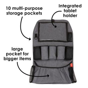 Diono Stow 'n Go XL Car Back Seat Organiser for Kids, Kick Mat Back Seat Protector with 10 multi-purpose storage pockets, Integrated tablet holder and large pocket for bigger items [Gray]
