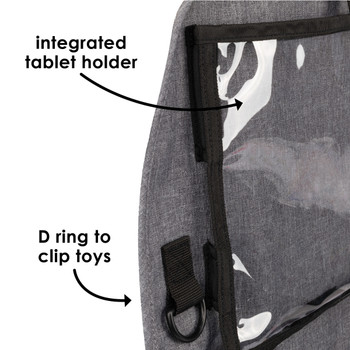 Diono Stow 'n Go XL Car Back Seat Organiser for Kids, Kick Mat Back Seat Protector with integrated tablet holder with a D ring to clip toys [Gray]
