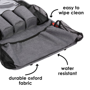 Diono Stow 'n Go XL Car Back Seat Organiser for Kids, Kick Mat Back Seat Protector, easy to wipe clean, durable oxford fabric and water resistant [Gray]
