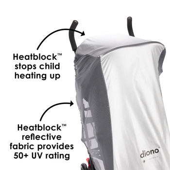 Made with HeatBlock reflective fabric to prevent your child from overheating on warm days