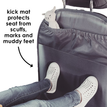 Kick mat protects seat from scuffs, marks and muddy feet [Gray]