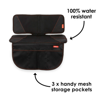 Diono Super Mat Car Seat Protector - 100% water resistant, 3x handy storage pockets [Black] [Gray]
