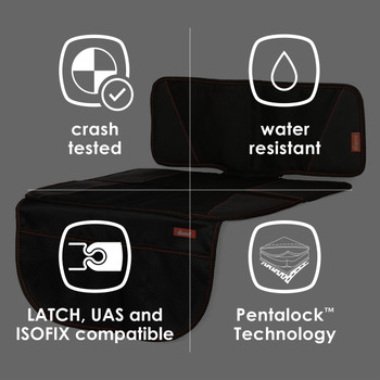Diono Super Mat Car Seat Protector - Features: Crash tested, Water Resistant, Latch, UAS and ISOFIX compatible. Pentalock Technology [Black] [Gray]