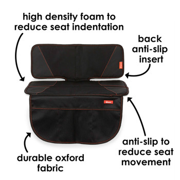 Diono Super Mat Car Seat Protector - High density foam to reduce seat indentation, back anti-slip insert to reduce car seat slipping, durable oxford fabric [Black] [Gray]