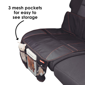 Diono Super Mat Car Seat Protector - 3 mesh pockets for easy to see storage  [Black] [Gray]