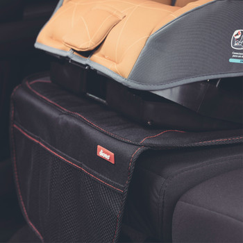 Diono Super Mat Car Seat Protector - close up of Super Mat installed in the back seat of a car [Black] [Gray]