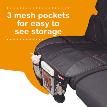 Super Mat 2 Pack Car Seat Protectors For Under Car Seat has 3 mesh pockets for easy to see storage [Black]