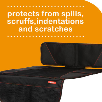 Super Mat 2 Pack Car Seat Protectors For Under Car Seat protects from spills, scruffs, indentions and scratches [Black]