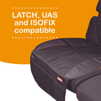 Super Mat 2 Pack Car Seat Protectors For Under Car Seat is LATCH, UAS and ISOFIX compatible [Black]