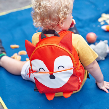 Character Kids Mini Back Pack Toddler Leash & Harness for Child Safety, With Padded Shoulder Straps For Child Comfort Shown On Toddler [Fox]
