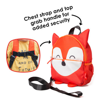 Chest strap and top grab handle for added security [Fox]